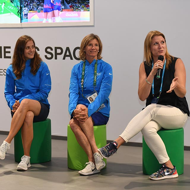 Retired Olympians Kate Johnson, Barbara Kendall, and Danka Bartekova talk on a panel about their lives after the Olympics.
