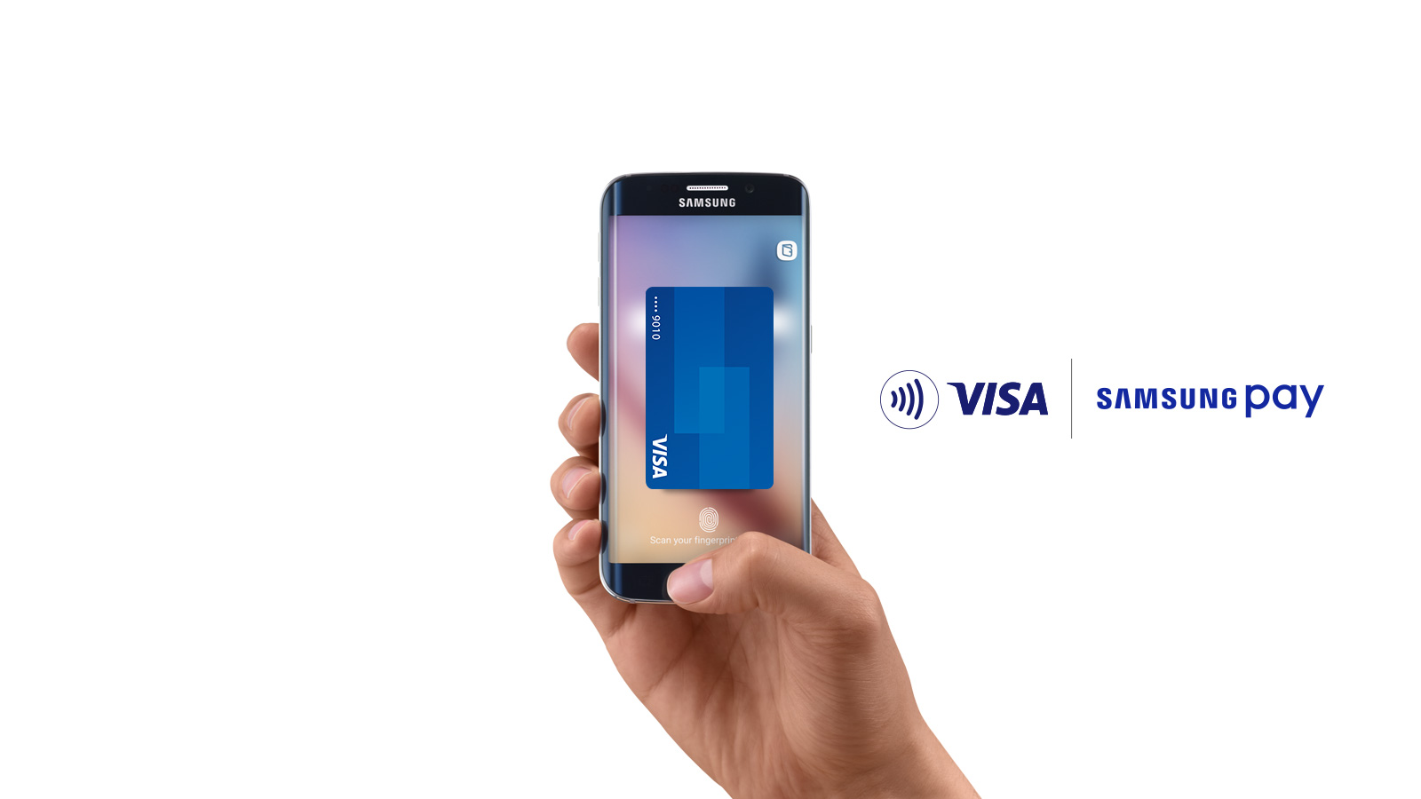 Contactless symbol, Visa Samsung Pay logo, hand holding Samsung smart phone with an image of a Visa card on the display.