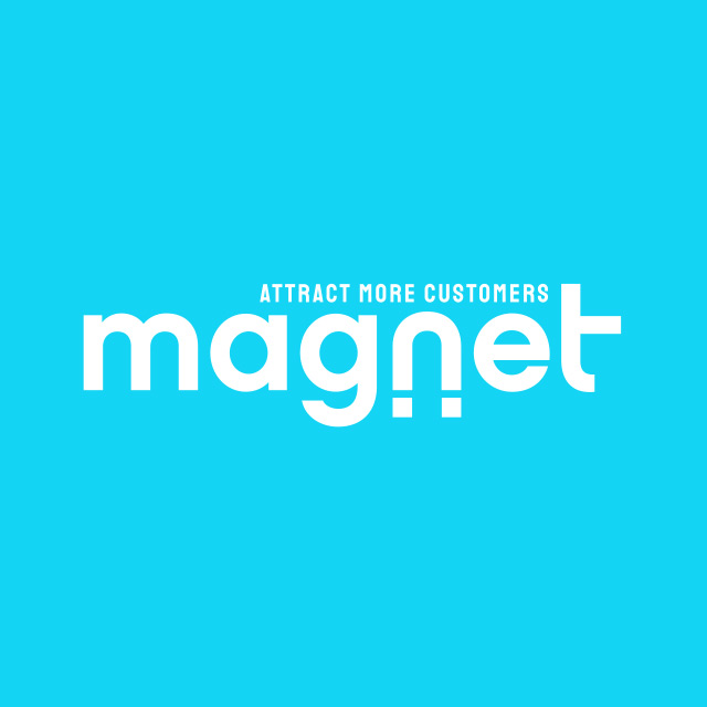 Magnet logo with phrase Attract More Customers directly above it in smaller font.