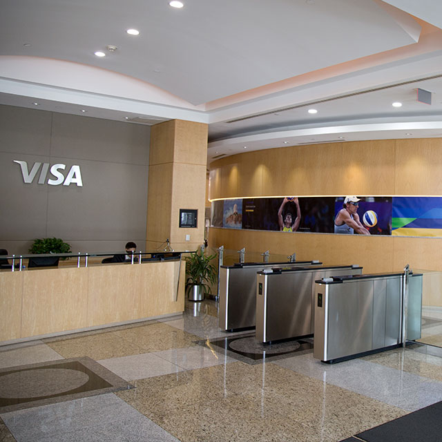 Lobby of the Visa Innovation Center in Miami.